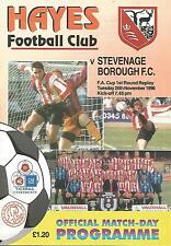 Football Programme - Hayes v Stevenage Borough - FA Cup Replay - 26/11/1996