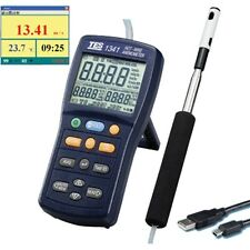 Hot Wire Anemometer Air Velocity/Flow Temperature Humidity Dew Point Meter USB