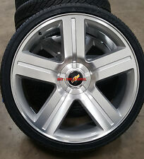 24 inch Wheels and Tires Texas Edition Style Rims Silverado Silver Machined 28
