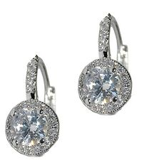 DAINTY PAVE+ROUND HALO CUBIC ZIRCONIA CZ LEVER BACK EARRING -BRIDAL 17MM