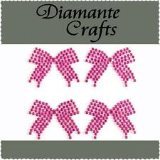 4 x 33mm Hot Pink Diamante Bows Rhinestone Vajazzle Self Adhesive Body Art  Gems