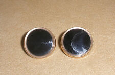 Men's Antique Cufflinks in Onyx w/ a Gold Tone Setting Patented July 19, 1881
