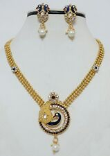 Indian Traditional Polki Kundan Gold Plated Necklace Earring Bridal Jewellry