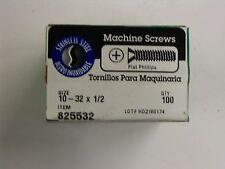 """SS  Machine Screws # 10 - 32 x 1/2 """" Phillips Flat Head - Hillman 100/box"""