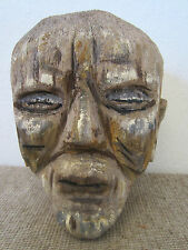PRIMITIVE, HAND CARVED TREE TRUNK TRIBAL HEAD