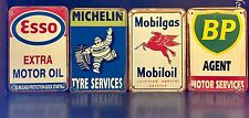 MICHELIN / ESSO / BP/ MOBILGAS VTG METAL SIGN Garage Wall Decor 16x12Cm Set Of 4