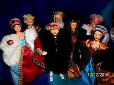 SEVEN PEGGY NISBET DOLLS #H/218 KING HENRY VIII & ALL SIX WIVES & HEADS + STANDS