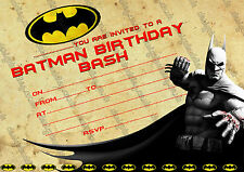 Batman super hero  Birthday Party Invitations for boys  X 10 CARDS