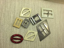 Lot Art Deco Celluloid Plastic Mother of Pearl Metal 8 Buckles