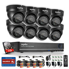 SANNCE 8CH 960H HDMI DVR 900TVL In/Outdoor CCTV Camera Home Security System 1TB