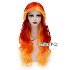 75cm Lolita Heat Resistant Red Mixed Yellow Cosplay Wig Party Hair Halloween
