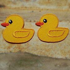 Lot de 2 Petits Patchs Ecussons brodés thermocollants Canard Little Duck