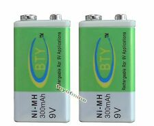 2x 9V 9 Volt 300mAh BTY Green Ni-Mh Rechargeable Battery PPS block Free Shipping