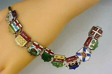 Vintage Sterling Silver Canadian Provinces Travel Charm Bracelet