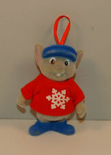 "1990 Bernard 3.5"" Fuzzy Christmas Ornament Figure Disney The Rescuers Down Under"