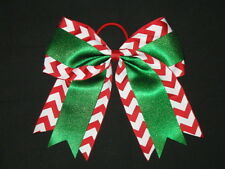 "NEW ""CHRISTMAS CHEVRON GLITTER"" Cheer Bow Pony Tail 3"" Ribbon Girls Cheerleading"