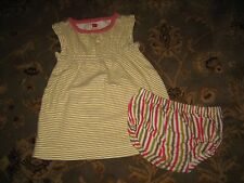 Baby Girl's TEA COLLECTION Striped Dress + Bloomers Outfit - Size 6-12 Months