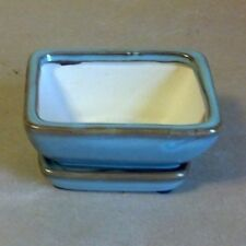 "Lovely Bonsai Pot & Matching Saucer Small 4"" long NEW, Light Blue & Brown"