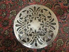 "Antique Tiffany & Co  Art Nouveau 7"" Sterling Silver Overlay TRIVET  COASTER"