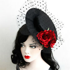 New Woman Retro Sexy Rose Flower Nightclubs Party Masquerade Hat Hair Clip Decor