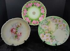 Three Antique Cabinet Service Plates * Rose Decorated