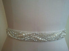 VIVIENNE Silver Pearl and Rhinestone Diamante Bridal Sash Wedding Dress Belt