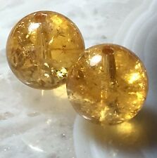GOLDEN TRANSPARENT 10mm YELLOW CITRINE ROUND GEMSTONE CRYSTAL GEMMY BEAD PAIR