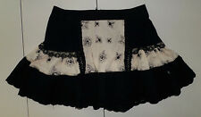 "TRIPP NYC Daang Goodman Skull Flower Black/Cream Lace 15.25"" Short Skirt Women S"