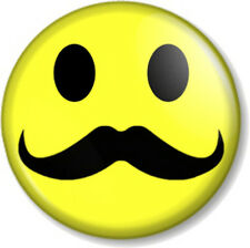 "Moustache Smiley 25mm 1"" Pin Button Badge Novelty Movember Mustache Tash Hipster"