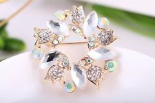 Fashion Alloy Clear Crystal Brooch Banquet Bridal Gold Plated Pins Brooch Gift