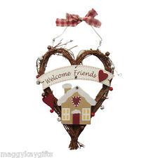 Welcome Friends - Gingerbread House Vine Heart Hanger with Bells - Doors - Walls