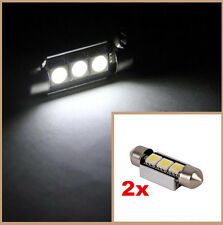 2x 36mm 3SMD LED FESTOON CANBUS ERROR FREE WHITE NUMBER PLATE LIGHT BULB 239 C5W