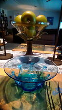 """Greenfield Village Handcrafted blue glass bowl 7 1/4"""""""