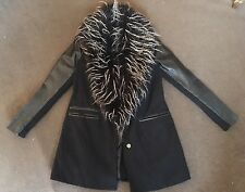 River Island Black Coat Jacket With Faux Fur Collar Faux Leather Sleeves Size 12