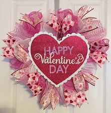 "Handmade Valentines Heart Shaped Deco Mesh Wreath With ""Happy Valentine's Day"""