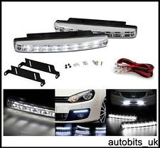 CLEAR LED DRL Daytime Running Lights Lamps E4 158mm SET + WIRING KIT