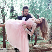 Tea Length Pink Tulle Wedding Dresses Lace Long Sleeve A-Line Formal Prom Dress