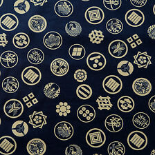 Japanese Fabric 100% Cotton Kamon Crest Navy Per Half Metre 50cm TG77