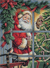 Cross Stitch Kit ~ Gold Collection Candy Cane Santa Claus Christmas Tree #8734