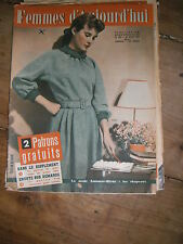 Femmes d'aujourd'hui N° 434 1953  Mode vintage  patrons Couture Broderie Robe