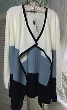 NEW~ Plus Size 1X Carol Rose Navy Blue Off White Open Cardigan Sweater Duster