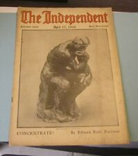 April 17 1916 The Independent Harper's Weekly Magazine The Thinker Auguste Rodin