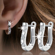 New Fashion Women 925 Sterling Silver Jewelry White Gemstone Stud Hoop Earrings