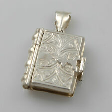 Solid Sterling 925 Silver Victorian Style Family Bible Book Pendant HM 1998
