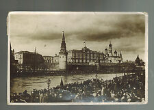 1933 Moscow RUSSIA USSR Real Picture Postcard Cover to USA Kremlin Wall 1928
