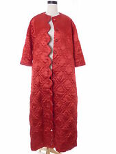 Vtg Red Satin Quilted Maxi Dressing Lounge Gown Robe Housecoat pockets Sz L