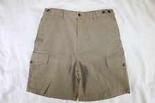MENS 32 EMS EASTERN MOUNTAIN SPORTS KHAKI COTTON BLEND SHORTS DRESS CASUAL EUC