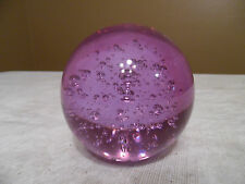 "Lavender Glass Round Ball Paper Weight Controlled Air Bubbles - 3"" - New!"