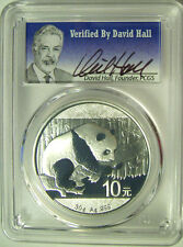 2016 China Panda Silver 10 Yuan  PCGS MS70 Signed by David Hall  - Superb! -