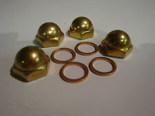 4 NEW HARLEY SPORTSTER IRONHEAD BRASS ACORN ROCKER SHAFT END NUTS chopper bobber